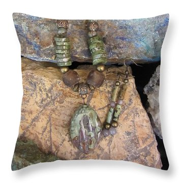 Green Agate And Brass #s55 Throw Pillow