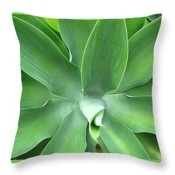 Green Agave Leaves Throw Pillow