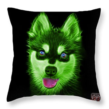 Green Alaskan Klee Kai - 6029 -bb Throw Pillow