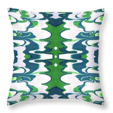 Green And Blue Swirl- Art By Linda Woods Throw Pillow