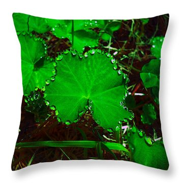 Green And Drops Throw Pillow