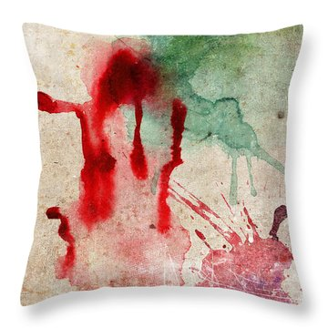 Green And Red Color Splash Throw Pillow