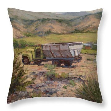 Green And Silver Truck Throw Pillow