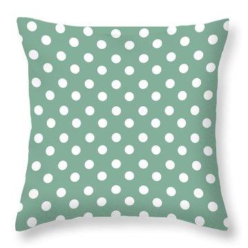 Green And White Polka Dots Throw Pillow