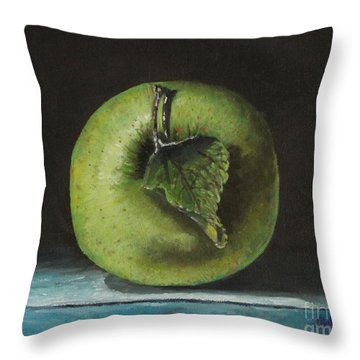 Green And Yellow Apple Throw Pillow