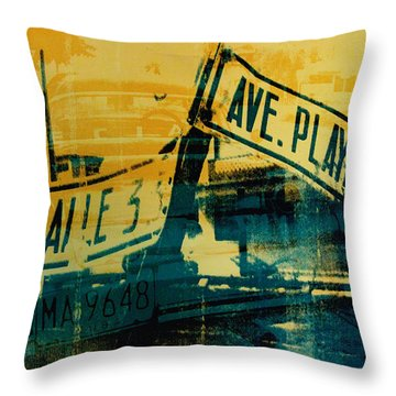 Green And Yellow Street Sign Throw Pillow