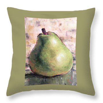 Green Anjou Pear Throw Pillow by Pam Talley