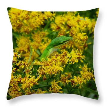 Green Anole Hiding In Golden Rod Throw Pillow