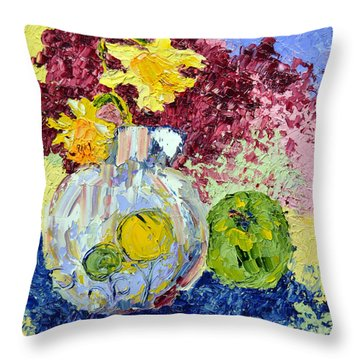 Green Apple And Daffodils Throw Pillow