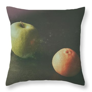 Green Apple And Tangerine Throw Pillow by Jimmy Ostgard