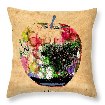 Green Apple Poster Print Throw Pillow