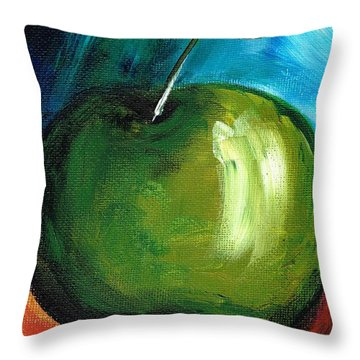 Throw Pillow featuring the painting Green Apple by Jolanta Anna Karolska