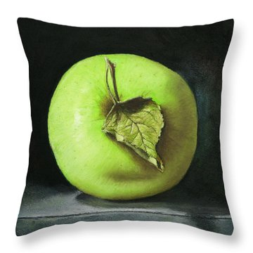 Green Apple With Leaf Throw Pillow