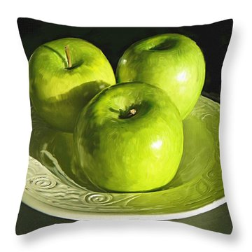 Green Apples In A White Bowl Throw Pillow