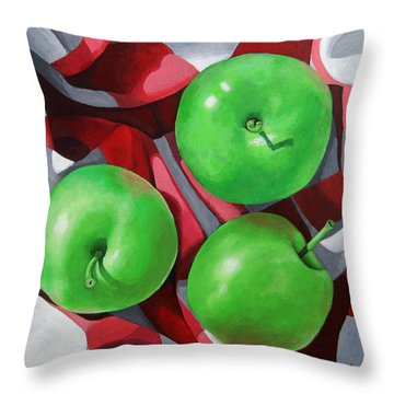 Green Apples Still Life Painting Throw Pillow