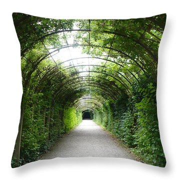 Green Arbor Of Mirabell Garden Throw Pillow by Carol Groenen