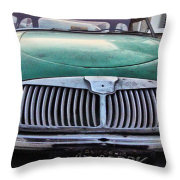 Green Austin Healey In Drive Throw Pillow
