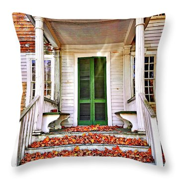 Green Autumn Door Throw Pillow