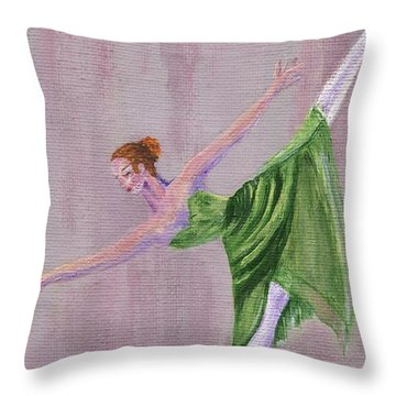 Throw Pillow featuring the painting Green Ballerina by Jamie Frier