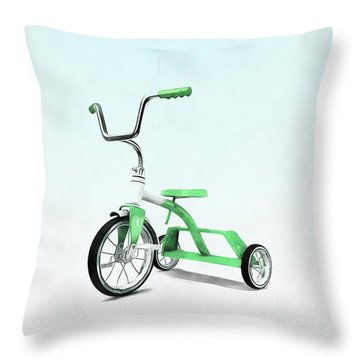 Throw Pillow featuring the digital art Green Balloon Green Tricycle by Edward Fielding