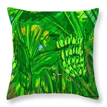 Green Bananas Throw Pillow