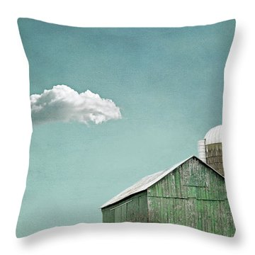 Green Barn And A Cloud Throw Pillow
