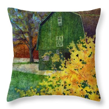 Green Barn Throw Pillow by Hailey E Herrera
