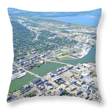 Green Bay Downtown Throw Pillow by Bill Lang
