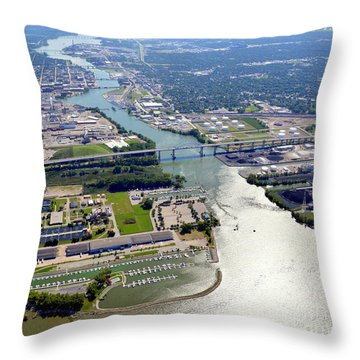 Green Bay Fox River South Throw Pillow by Bill Lang