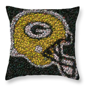 Green Bay Packers Bottle Cap Mosaic Throw Pillow