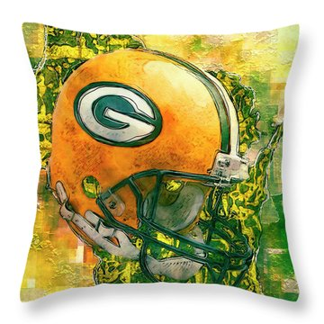 Green Bay Packers Throw Pillow by Jack Zulli