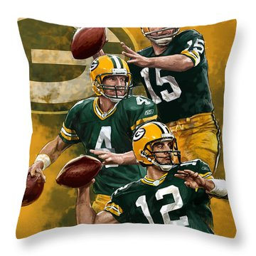 Green Bay Packers Quarterbacks Throw Pillow