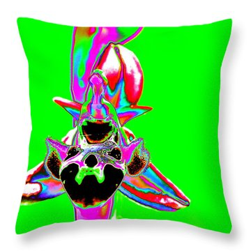 Green Bee Orchid Throw Pillow