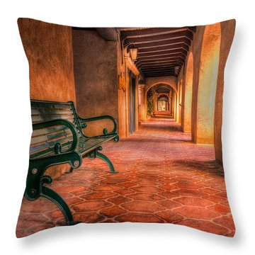 Green Bench And Arches Throw Pillow