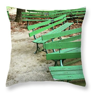 Green Benches- Fine Art Photo By Linda Woods Throw Pillow
