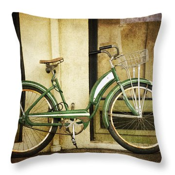 Green Bicycle Throw Pillow