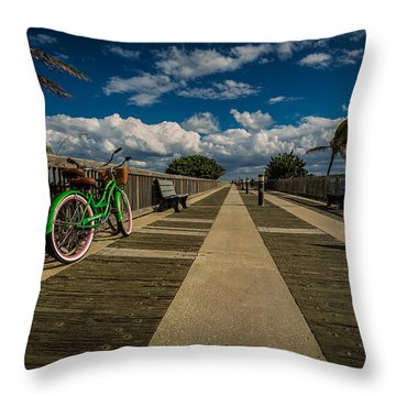 Green Bike At The Beach Throw Pillow