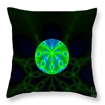 Green Blue World Fractal  Throw Pillow