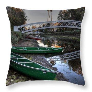 Green Boats Throw Pillow