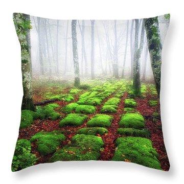 Green Brick Road Throw Pillow