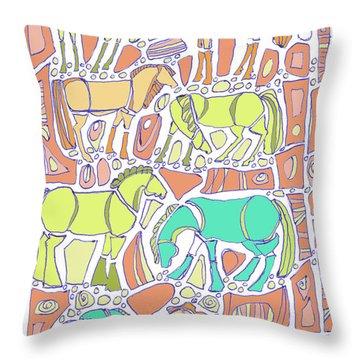 Green Broke Throw Pillow by Linda Kay Thomas