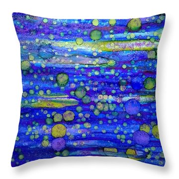 Green Bubbles In A Purple Sea Throw Pillow