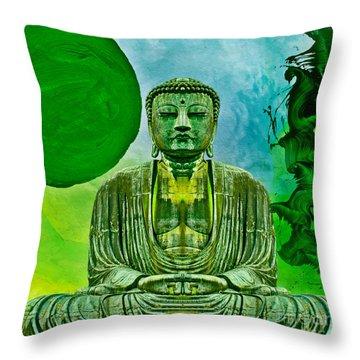 Green Buddha Throw Pillow