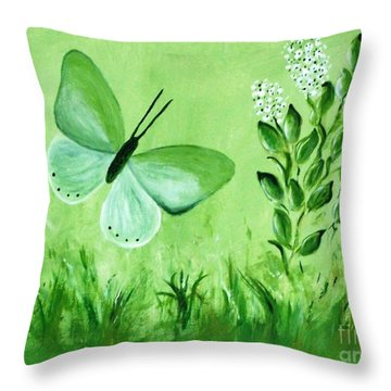 Throw Pillow featuring the painting Green Butterfly by Sonya Nancy Capling-Bacle