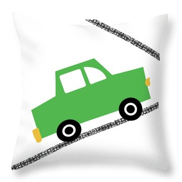 Green Car On Road- Art By Linda Woods Throw Pillow