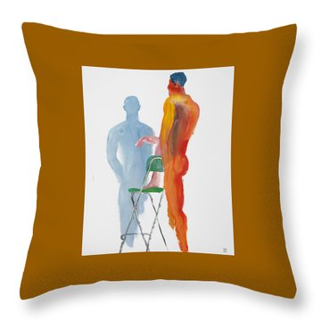 Green Chair Blue Shadow Throw Pillow by Shungaboy X