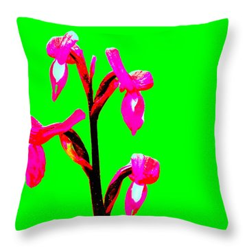 Green Champagne Orchid Throw Pillow