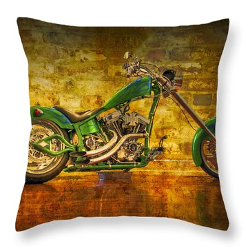 Green Chopper Throw Pillow by Debra and Dave Vanderlaan