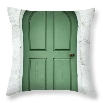 Green Church Door Iv Throw Pillow by Helen Northcott