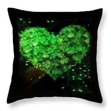 Green Clover Heart Throw Pillow
